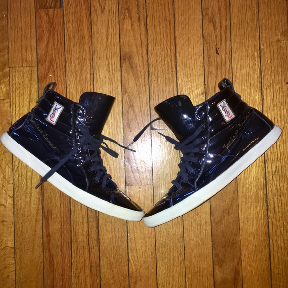 7d31261fd97 Yves Saint Laurent Shoes | Ysl Navy Blue Rolling Sneaker Leather ...